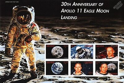 APOLLO XI Moon Landing Armstrong/Collins/Aldrin Space Stamp Sheet (1999 Grenada)