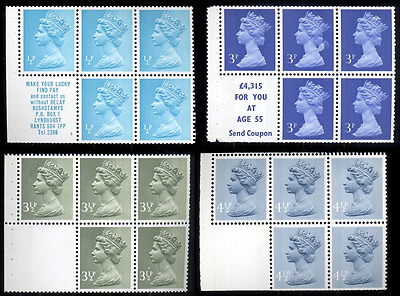 Great Britain 4 diff 1971-74 Machin booklet panes MNH