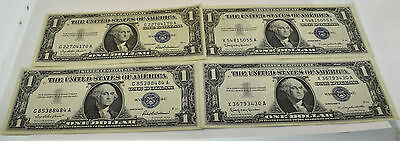 United States Lot Of 4 1957 $1 One Dollar Silver Certificate Notes Bills