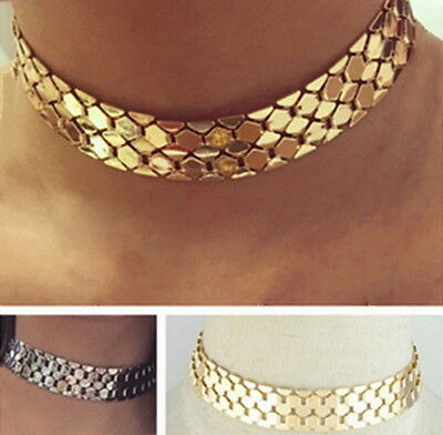 Statement Metal Necklace Vintage Collar Wide Gold Chunky Chain Choker Tone