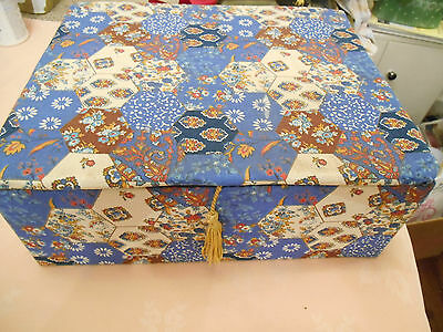 Vintage Tapestry Sewing Box Blue Patchwork Storage Craft Cottons Box Flower