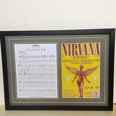 Nirvana Hand Signed/Autographed Songsheet with Poster & COA