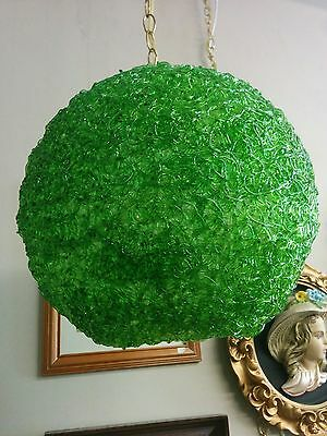 1980s Green 13 Inches Round Spaghetti Swag Lamp With 18 Foot Gold Chain
