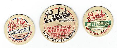 PROBST MILK CO. dairy 3 MILK BOTTLE CAPS LAWRENCE AURORA INDIANA IND IN
