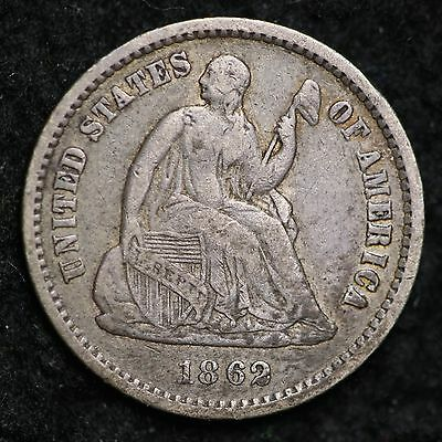 1862 Seated Liberty Half Dime CHOICE VF FREE SHIPPING E188 ACL