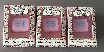 BNIB 3 x The Vintage Cosmetic Company Duo Pencil Sharpener in pink colour