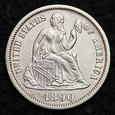 1890 Seated Liberty Dime CHOICE AU FREE SHIPPING E212 UCP
