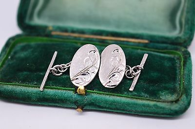Vintage Sterling silver Cufflinks with an Art Deco design #C1070