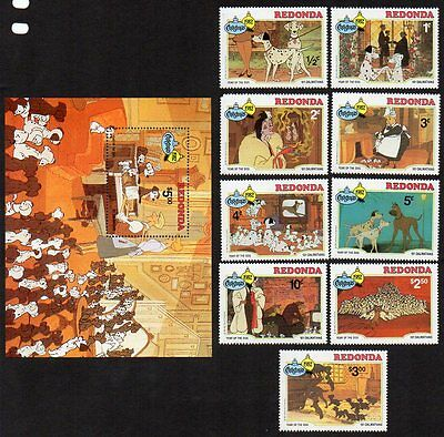 Redonda 1982 Christmas Disney 101 Dalmations MNH