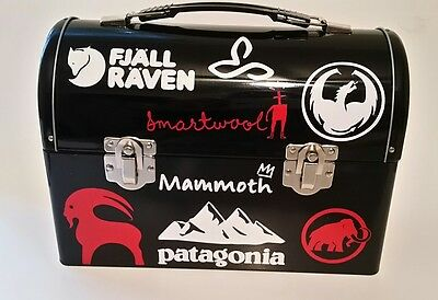 Cool Retro Dome Metal Lunch Box Outdoors Stickers North Face Mammut Black New