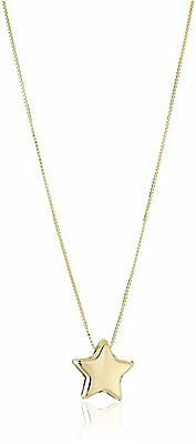 14k Yellow Gold Italian Box Chain Adjustable Star Pendant Necklace 18in, New
