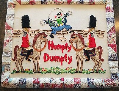 Embroidered Vintage Humpty Dumpty Wall Art Hand Made