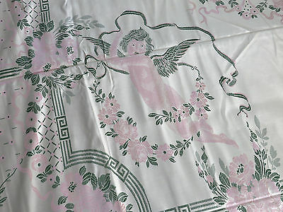 Vtg Antique Bedspread Putti Cherubs Roses PINK Cream Fringe Italy UNUSED 110X98