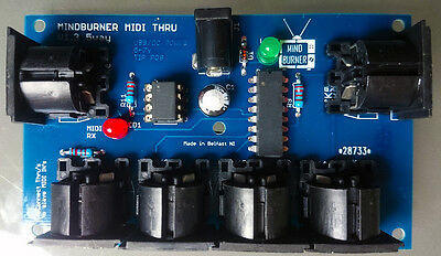 5 way MIDI Thru Splitter unit for synthesizers and modules