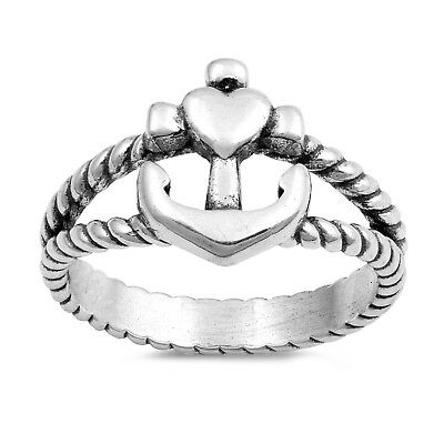 .925 Sterling Silver Cross Heart Anchor Rope Fashion Ring Size 4-10 NEW