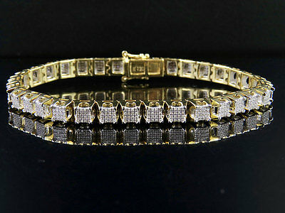 "10K Yellow Gold Men's Square Cluster Genuine Diamond Bracelet 2 CT 8.5"" 7MM"