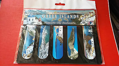 "Souvenir Greece Magnetic Clip Bookmarks ""Greek islands"" Mykonos/Santorini/Zakynt"
