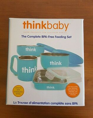 New Thinkbaby The Complete BPA-Free Baby Feeding Set Kit Stainless Steel Blue