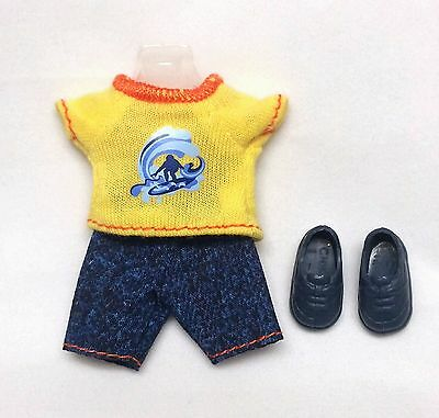 Barbie Kelly Tommy Doll Clothes Yellow Surfer Print Top Denim Shorts Shoes New