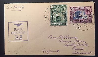 ADEN 1943 KATHIRI STATE RAF Censored cover to England