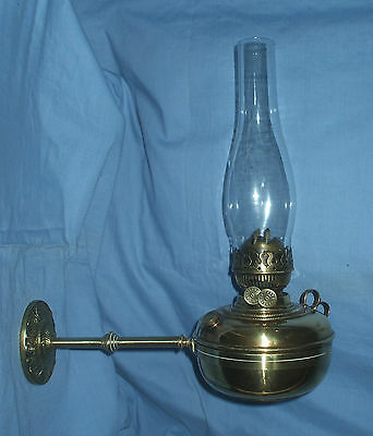 Antique Wall mounted Brass Oil Lamp - With Removable Lamp -- Fully Working