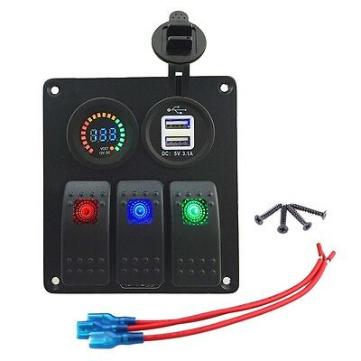 12V Waterproof Car Boat Marine 3 Gang LED On/Off Rocker Switch Panel Voltmeter