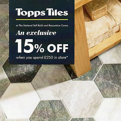 TOPPS TILES 15% OFF with £250 spend until 31 October2017 Discount Voucher Coupon