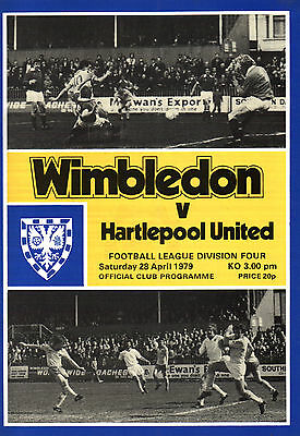 1978/79 Wimbledon v Hartlepool United, Division 4, PERFECT CONDITION