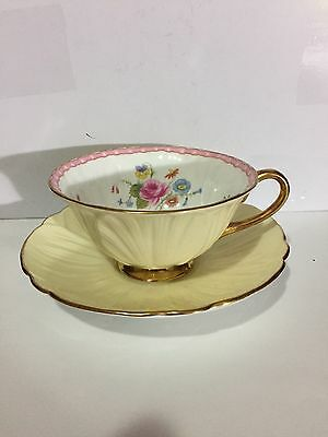 Vintage Shelley Oleander Yellow Floral Footed Cup & Saucer. EUC!