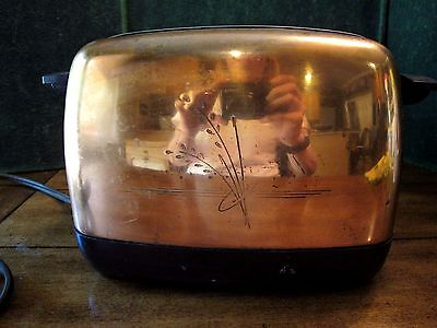 Vintage 1950s Copper Toaster  -- Working Collectible