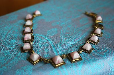Vintage Ornate Pink Stone Gold Tone Necklace For Parts or Repair
