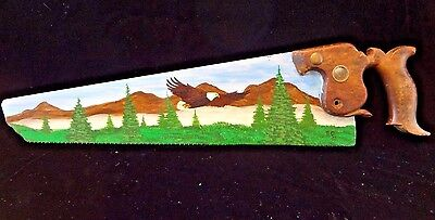 Vintage Hand Painted Saw Blade Eagle Soaring Over Mountains Ron Crooker Artist