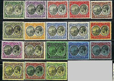 DOMINICA, GB, SC65~82(18) CplSet, 1923 KGV Def. to 5 sh Seal of Colony MH $172 h