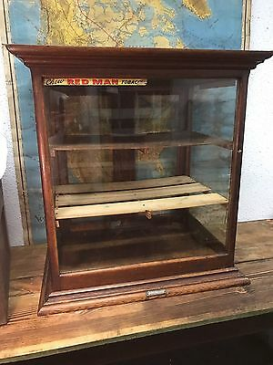 Antique 10s Oak General Store Humidor Glass Display Cabinet Tobacco Red Man Case