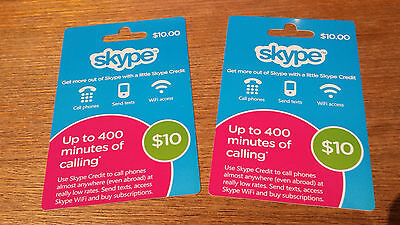 SKYPE AUD$20 ($10x2) Prepaid gift Card 10% off ( fast free delivery in 12hrs )