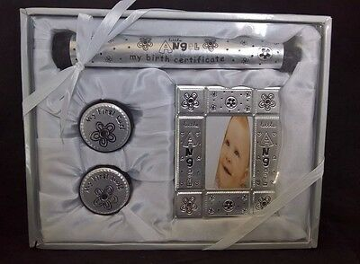Birth Gift Set Certificate Holder 1st Curl & Tooth Photo Frame Baby shower Angel