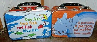 Two Dr. Seuss Metal Lunch Box 1 Fish 2 Fish Red Fish Blue Fish & Horton Lunchbox