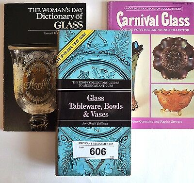 3 books on glass collectibles carnival glass guide woman's day dictionary price