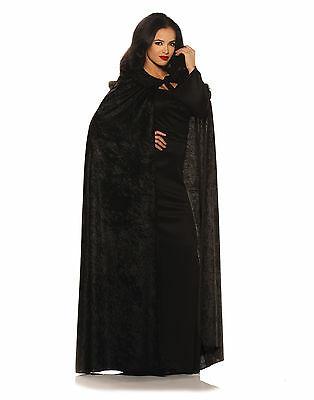 Black Velvet Cape With Collar Adult Womens Halloween Costume Cape