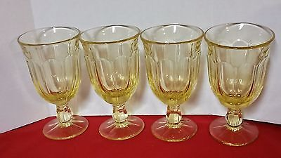 "Set 4 VINTAGE 6 3/8"" Yellow Glass Paneled Footed Drink Tumblers Glasses"