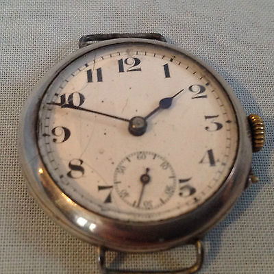 Ww I - 1916 Silver Trench Watch For Repair Scottish Assay Marks