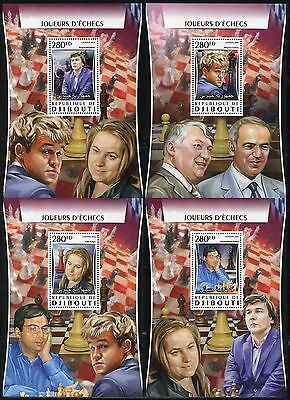 Djibouti 2017  Chess Players   Set Of Four Souvenir Sheets Mint Never Hinged