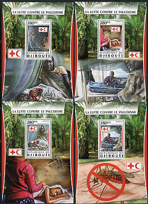 Djibouti 2017  Red Cross The Battle Against Malaria  Set Of Four S/s Mint Nh