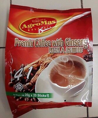 PREMIX COFFEE WITH GINSENG INSTANT 4 IN 1 COFFEE AGROMAS 20 X 20g SACHETS