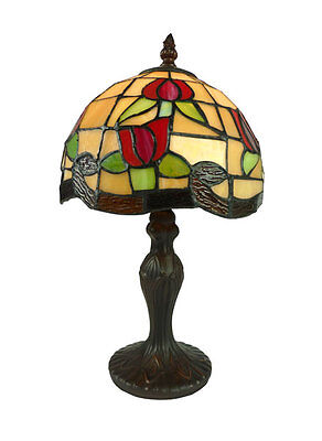 Red Flower Small Tiffany Style Table Lamp Lead Light - Will Ship Australia Wide