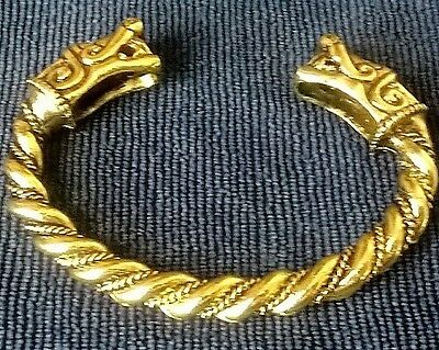 large Gold Norse Pagan Viking Open Wolf Size Bangle Bracelet Torc Mens