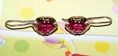 Magic! RUBIES Vintage EARRINGS Silver 875 Gold Plated USSR Antique!
