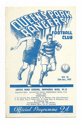 1937/38 Division 3 South - QUEENS PARK RANGERS v. SOUTHEND UNITED