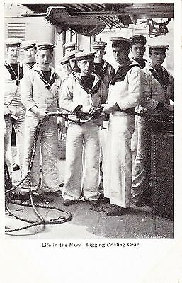 LIFE IN THE NAVY. RIGGING COALING GEAR,  POSTCARD, Early 20thc