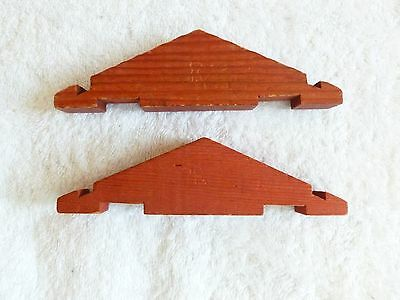 2  classic Lincoln Logs Vintage WOOD RED ROOF Gable Ends twp log notches 5 1/2""
